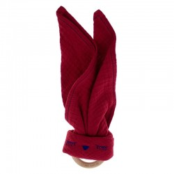 Hi Little One - Przytulanka muślinowa z gryzakiem Sleepy Bunny cozy muslin with wood teether Strawberry