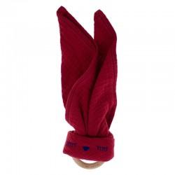 Hi Little One - Przytulanka z organicznej BIO bawełny GOTS z gryzakiem Sleepy Bunny cozy muslin with wood teether 2in1 Strawberr