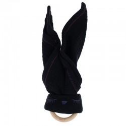 Hi Little One - Przytulanka z organicznej BIO bawełny GOTS z gryzakiem Sleepy Bunny cozy muslin with wood teether 2in1 Black