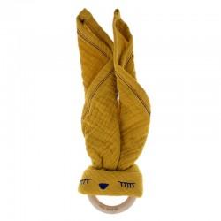 Hi Little One - Przytulanka z organicznej BIO bawełny GOTS z gryzakiem Sleepy Bunny cozy muslin with wood teether 2in1 Mustard