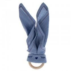 Hi Little One - Przytulanka z organicznej BIO bawełny GOTS z gryzakiem Sleepy Bunny cozy muslin with wood teether 2in1 Sky Blue