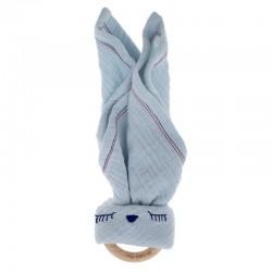Hi Little One - Przytulanka z organicznej BIO bawełny GOTS z gryzakiem Sleepy Bunny cozy muslin with wood teether 2in1r Baby Blu