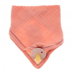 Hi Little One - Śliniak bandana z zawieszką na smoczek z organicznej BIO bawełny GOTS bandana bibs 3in1 Salmon