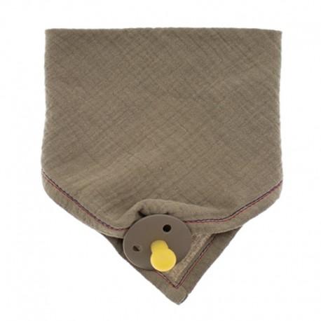 Hi Little One - Śliniak muślinowy bandana z zawieszką na smoczek muslin bandana bibs with pacifire holder Dark Oak Light