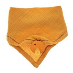 Hi Little One - Śliniak muślinowy bandana z zawieszką na smoczek muslin bandana bibs with pacifire holder Apricot