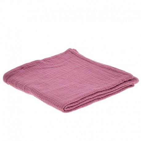 Hi Little One - Oddychający otulacz muślinowy 100 x 100 muslin swaddle Baby Pink Dark