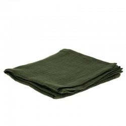 Hi Little One - Otulacz muślinowy 100 x 100 cm z organicznej BIO bawełny GOTS muslin swaddle Green Hunter
