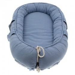 Hi Little One - Kokon gniazdko dla Noworodka z oddychającego muślinu NEWBORN NEST SKY BLUE