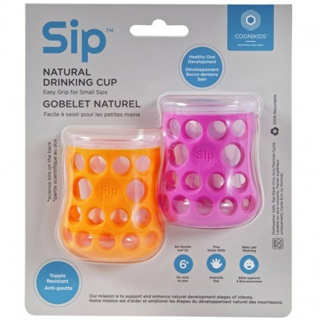 CogniKids Sip® – Natural Drinking Cup 2 sensoryczne kubeczeki do nauki picia dla niemowląt TENGERIN / FLAMINGO