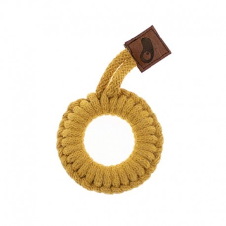 Hi Little One - gryzak sznurkowy Ring Teether wood and cotton Mustard