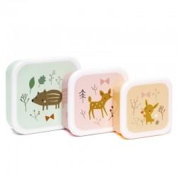 Petit Monkey - 3 śniadaniówki lunchboxy Przyjaciele z lasu