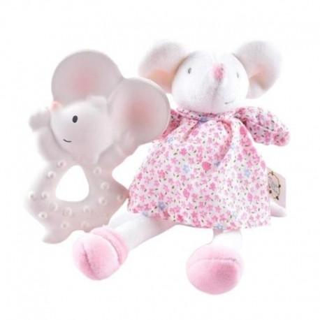 Meiya & Alvin - Meiya Mouse Organic zestaw Babyshower z gryzakiem