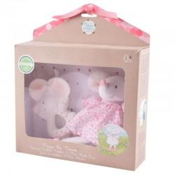 Meiya & Alvin - Zestaw prezentowy Baby Shower Set z lalką przytulanką i gryzakiem z organicznego kauczuku Hevea Meiya Mouse