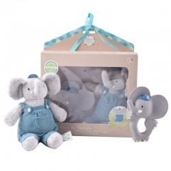 Meiya & Alvin - Alvin Elephant Organic zestaw Babyshower z gryzakiem