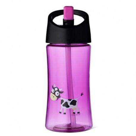 Carl Oscar Transparentny bidon ze słomką 350 ml Purple - Cow
