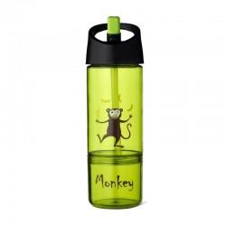 Carl Oscar Kids Bottle 2in1 Bidon z pojemnikiem na przekąski 2w1 Lime - Monkey