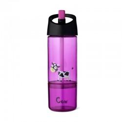 Carl Oscar Kids Bottle 2in1 Bidon z pojemnikiem na przekąski 2w1 Purple - Cow