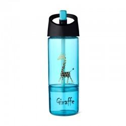 Carl Oscar Kids bottle 2in1 Bidon z pojemnikiem na przekąski 2w1 Turquoise - Giraffe