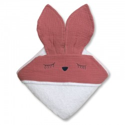 Hi Little One - Ręcznik z kapturem 100 x 100 SLEEPY BUNNY hooded bath towel Baby Pink Dark