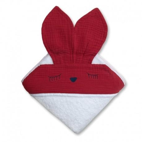 Hi Little One - Ręcznik z kapturem 100 x 100 SLEEPY BUNNY hooded bath towel Strawberry