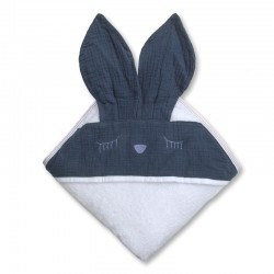 Hi Little One - Ręcznik z kapturem 100 x 100 SLEEPY BUNNY hooded bath towel Navy