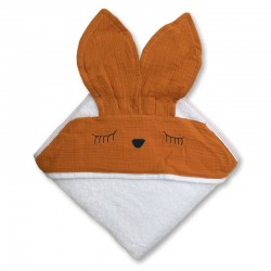 Hi Little One - Ręcznik z kapturem 100 x 100 SLEEPY BUNNY hooded bath towel Apricot