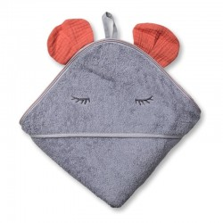 Hi Little One - Ręcznik z kapturem 100 x 100 BUNNY hooded bath towel Salmon