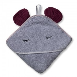 Hi Little One - Ręcznik z kapturem 100 x 100 SLEEPY BUNNY hooded bath towel Lavender