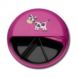 Carl Oscar Small SnackDISC™ 5 komorowy obrotowy pojemnik na przekąski Purple - Cow