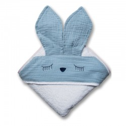 Hi Little One - Ręcznik z kapturem 100 x 100 SLEEPY BUNNY hooded bath towel Baby Blue