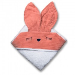 Hi Little One - Ręcznik z kapturem 100 x 100 SLEEPY BUNNY hooded bath towel Salmon