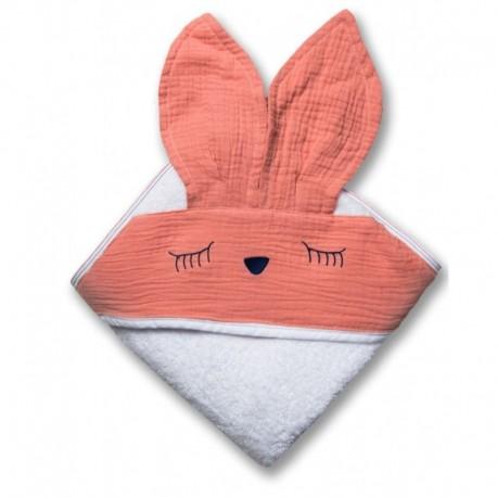 Hi Little One - Ręcznik z kapturem 100 x 100 SLEEPY BUNNY hooded bath towel Salmon