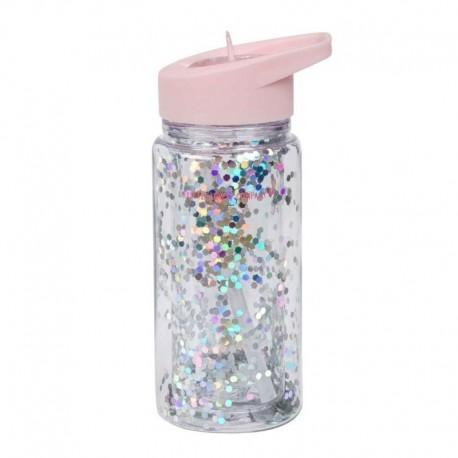 A Little Lovely Company - Bidon transparentny ze składanym ustnikiem GLITTER Pink/Silver