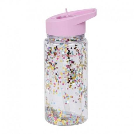 A Little Lovely Company - Bidon transparentny ze składanym ustnikiem GLITTER Pink/Multicolour