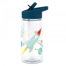 A Little Lovely Company - Bidon transparentny ze składanym ustnikiem Kosmos z naklejkami