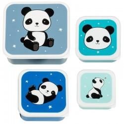 A Little Lovely Company - 4 Lunchboxy śniadaniówki Panda