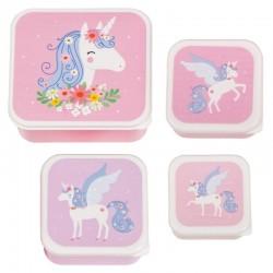 A Little Lovely Company - 4 Lunchboxy śniadaniówki Jednorożec