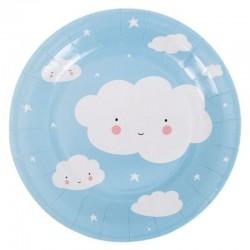 A Little Lovely Company - 12 eco talerzyków urodzinowych Chmurka