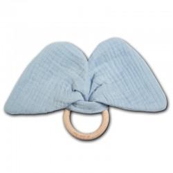 Hi Little One - gryzak z grzechotką szeleszczącą z organicznej BIO bawełny GOTS Elephant teether with rustling rattle Baby Blue
