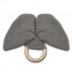 Hi Little One - gryzak z grzechotką szeleszczącą z organicznej BIO bawełny GOTS Elephant teether with rustling rattle Iron