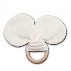 Hi Little One - gryzak z grzechotką szeleszczącą z organicznej BIO bawełny GOTS Mouse teether with rustling rattle White
