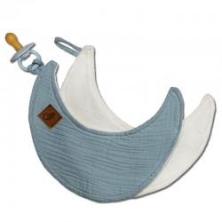Hi Little One - Przytulanka muślinowa dou dou z zawieszką na smoczek cozy muslin pacifier clip Moon Baby blue