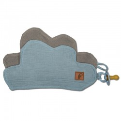 Hi Little One - Przytulanka dou dou z zawieszką z organicznej BIO bawełny GOTS cozy muslin pacifier keeper Cloud Baby Blue
