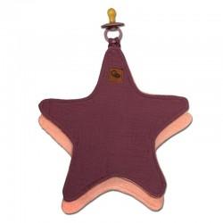 Hi Little One - Przytulanka dou dou z zawieszką z organicznej BIO bawełny GOTS cozy muslin pacifier keeper Star Lavender