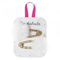 Rockahula Kids - spinki do włosów Fluffy Pom Pom Ivory