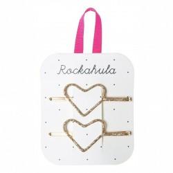 Rockahula Kids - wsuwki do włosów Glitter Heart Gold