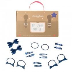 Rockahula Kids - 16 elementowy zestaw szkolny do włosów niebieski