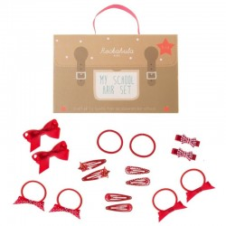 Rockahula Kids - 16 elementowy zestaw szkolny do włosów czerwony