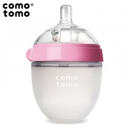 COMOTOMO - antykolkowa butelka silikonowa MOM'S BREAST 150 ml Pink NEWBORN