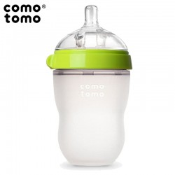 COMOTOMO - antykolkowa butelka silikonowa MOM'S BREAST 250 ml Green BABY